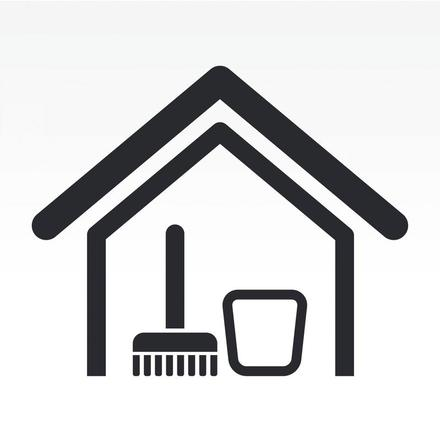 This is a picture of a house with cleaning tools.