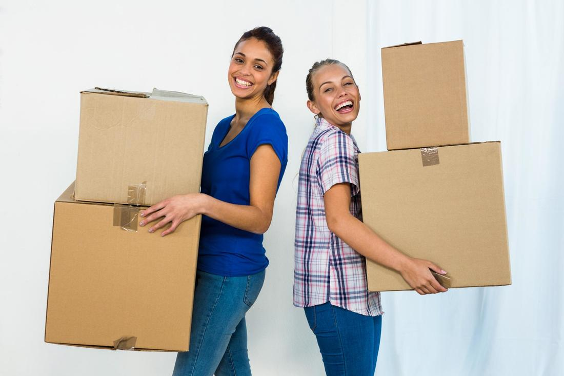 This is a picture of two girls moving out.